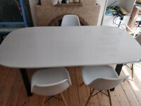 Table Ikea Oppeby White/dark brown + 4 chairs