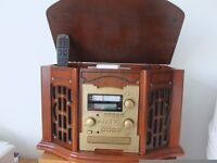 Multi-function stereo gramophone, CD player, cassette and radio