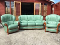 Green Leather 3 Piece Suite Italian Style 3 Seater Sofa & 2 Armchairs - Delivery Available