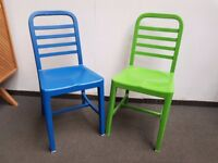 John Lewis Metal Dining Chairs Green and Blue Set of 2