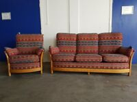 ERCOL RENAISSANCE SUITE 3 SEATER LIGHT TEAK SOFA / SETTEE & ARMCHAIR EASY CHAIR DELIVERY AVAILABLE