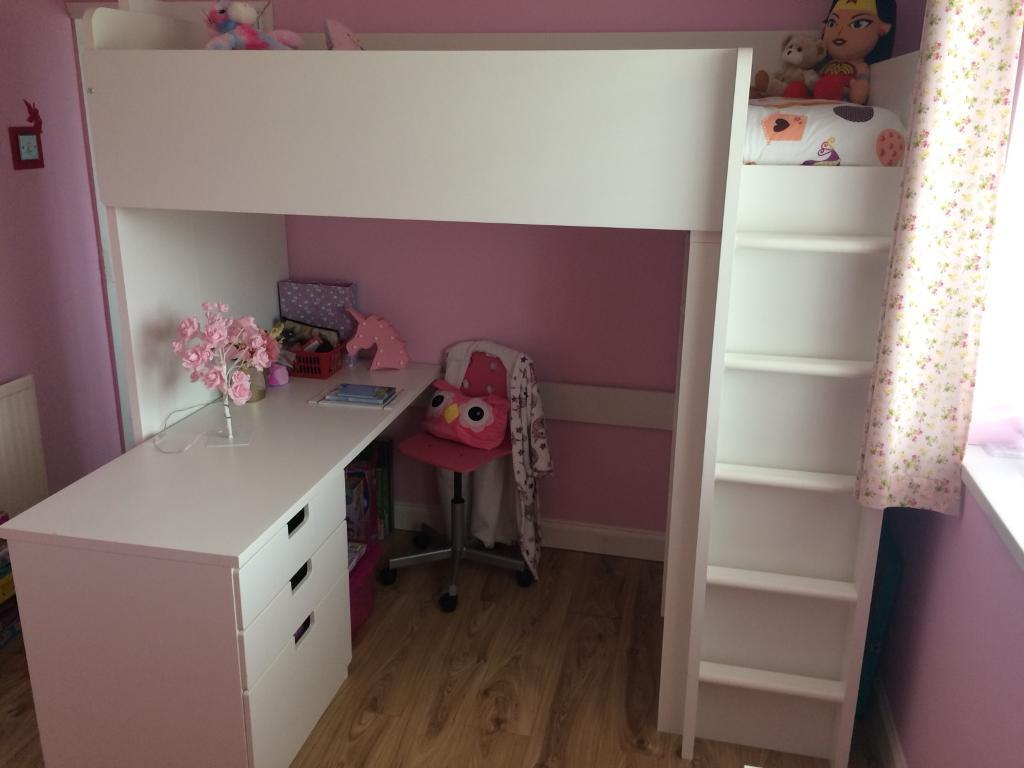 KIDS IKEA CABIN BED WITH DESK, DRAWERS AND WARDROBE WHITE ...