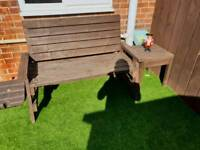 Handmade bench and table