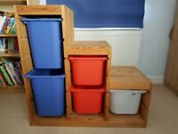 Ikea Kids storage unit with boxes