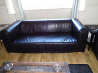 BLACK LEATHER 2-3 SEATER SOFA. CONTEMPORARY STYLE