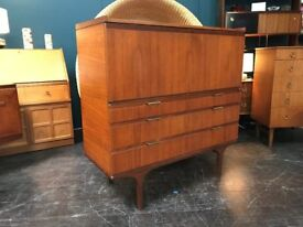 Tall Side Cabinet with Bureau by Meredew. Retro Vintage Mid Century