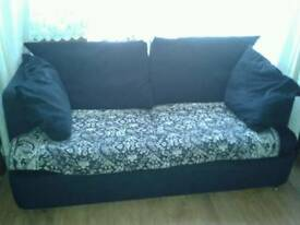 Black fabric sofa bed sofabed double