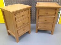 Pair Solid oak bedside cabinets / tables - John Lewis Laura Ashley habitat loaf oka