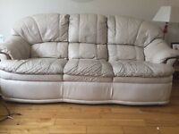 Cream leather sofa open to offers
