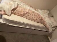 Single white wood Argos storage bed with mattress like new