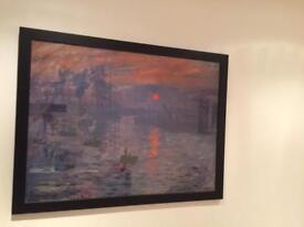Framed monet print, Sunrise