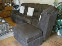 Brown Faux Suede Corner Sofa with storage
