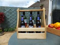 wooden hand made bottle can carrier with freezer packs