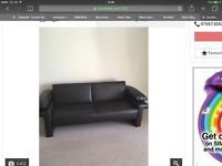 Sofa bed brown faux leather turns into single bed collect from Ladbroke Grove