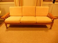 3 seater sofa and armchair (wooden frame only)