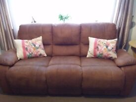 Saddle Brown 3 Piece and 2 Piece Reclining Sofa