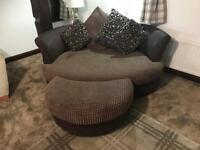 LARGE brown cuddle chair and foot stool