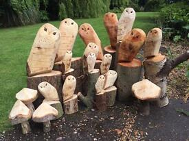 Chainsaw carved owls garden decorations natural wood