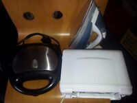 sandwich maker, toaster & steam iron FOR SALE
