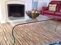 Beautiful curved glass coffee table