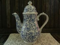 May Blossom Blue and White Large Coffee Pot Ironstone Staffordshire ICTC Burgess and Leigh