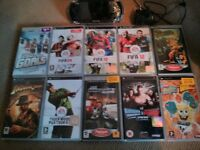 Sony PSP, Case (Logitech), Charger and 10 Games