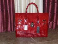 New Real Italian Leather Women Red Grab/Shoulder Bag