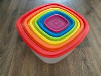 Set Of 6 Plastic Containers With Lids - Meal Prep, Food Storage - NEW UNUSED