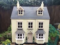 Furnished Dolls House, Good Condition with Working Lights, Including 2 Figures.