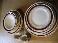 1950's dinner set with red and gold trim. 8 place settings. (Cobridge England)