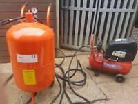 sand blaster setup with compressor