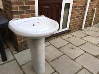 Basin and pedestal