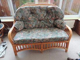 Cane three piece conservatory suite sofa two chairs and glass table
