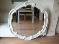 Stunning Large Round Hall / Overmantle Mirror - Professionally painted in Farrow & Ball Eggshell