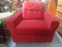 Vintage retro mid century red velvet lounge chair armchair castors 60s 70s Danish