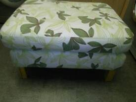 LARGE DOUBLE PADDED, FOOTSTOOL / POUFFE, WITH LIGHT WOOD LEGS