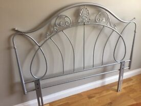 """Metal headboard for 4'6"""" double bed. Silver colour"""