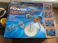 Power mixer for mixing cement, plaster, adhesive and paint