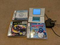 Nintendo DS (white) with 3 games