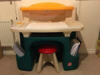 Kids arts and craft desk with stool