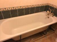 White Sink, bath, toilet