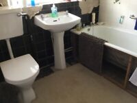White Steel Bath ,Porcelain Sink with Pedestal & Toilet , plus New Chrome Taps