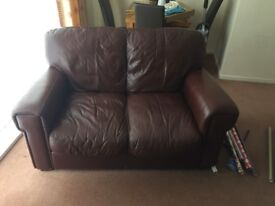3 seater 2 seater leather settee and footstool