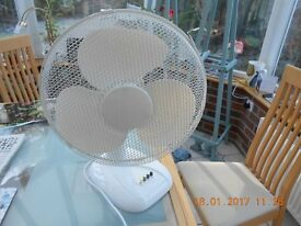 White fan (60 cm high) suitable for table top or floor