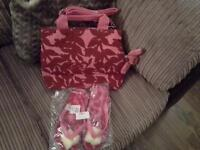 Rose tropical print Kipling bag including matching flip flops