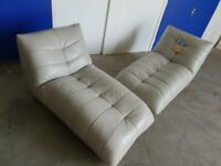 PAIR OF KINK LIGHT GREY LEATHER CHAISE LOUNGE CHAIRS MODERN / DESIGNER LOUNGERS DELIVERY AVAILABLE