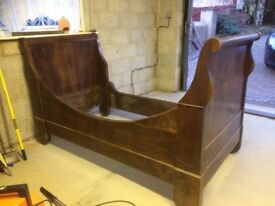 French Solid Wood Sleigh Bed Frame Antique Vintage Single Childs Brocante