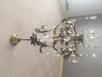 Gold Effect Acrylic Crystal droplet Pendant Light - reduced