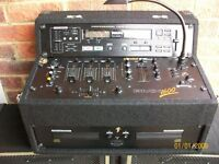 Complete dj equipment, twin CD unit with mixer speakers lights all accessories ready to go