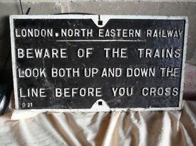 Genuine LNER Cast Iron Railway Sign
